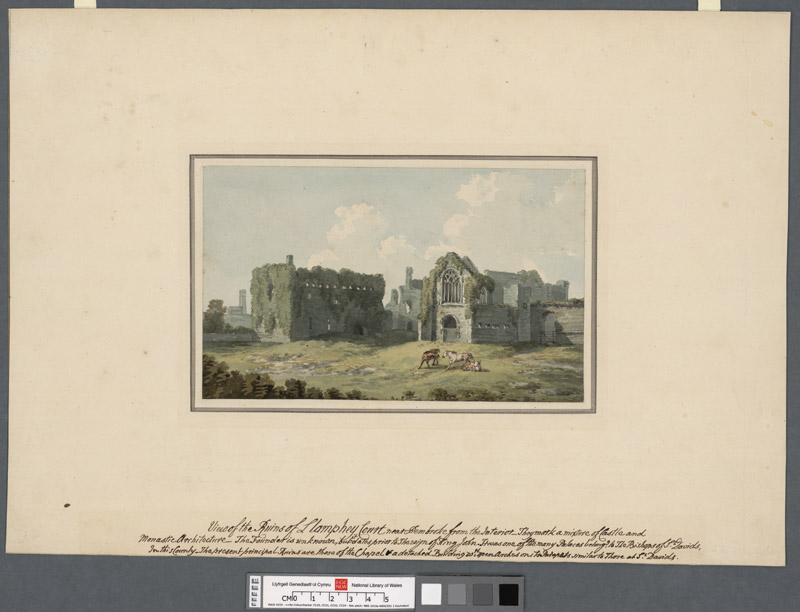 View of the ruins of Lamphey Court near Pembroke from the interior