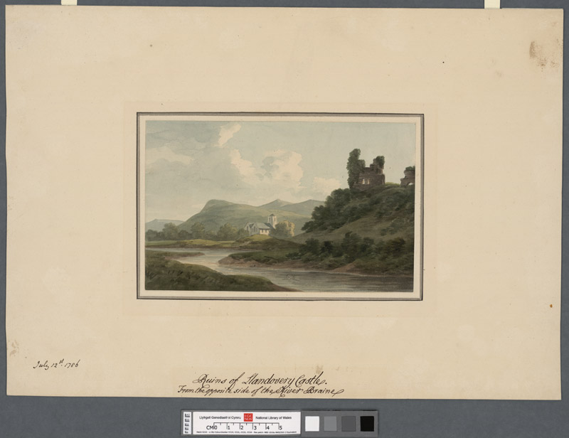 Ruins of Llandovery Castle from the oppposite side of the River Braine