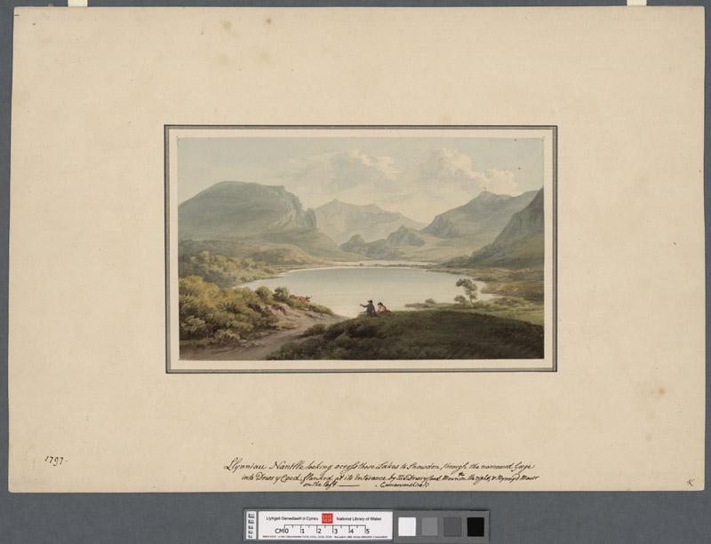 Llynniau Nantlle looking across the lakes to Snowdon through the narrowd gorge into Drws y Coed