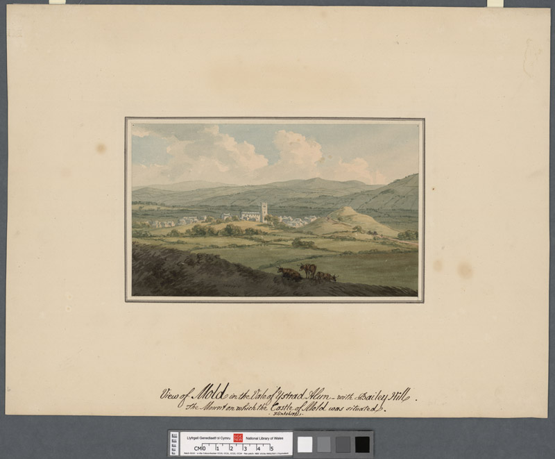 View of Mold in the valley of Ystrad Alun with Bailey Hill the mount on which the castle of Mold was situated