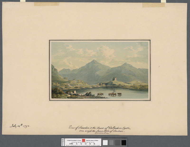 View of Snowdon & the tower of Dolbadarn Castle seen across the lower Lake of Llanberis, Caernarvonshire