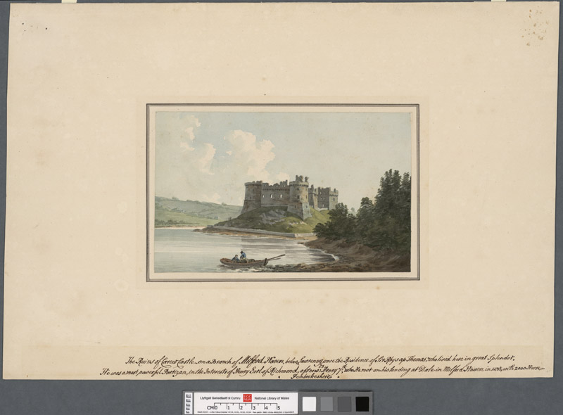 The ruins of Carew Castle on a branch of Milford Haven below Lawrenny once the residence of Sir Rhys ap Thomas who lived here in great splendor