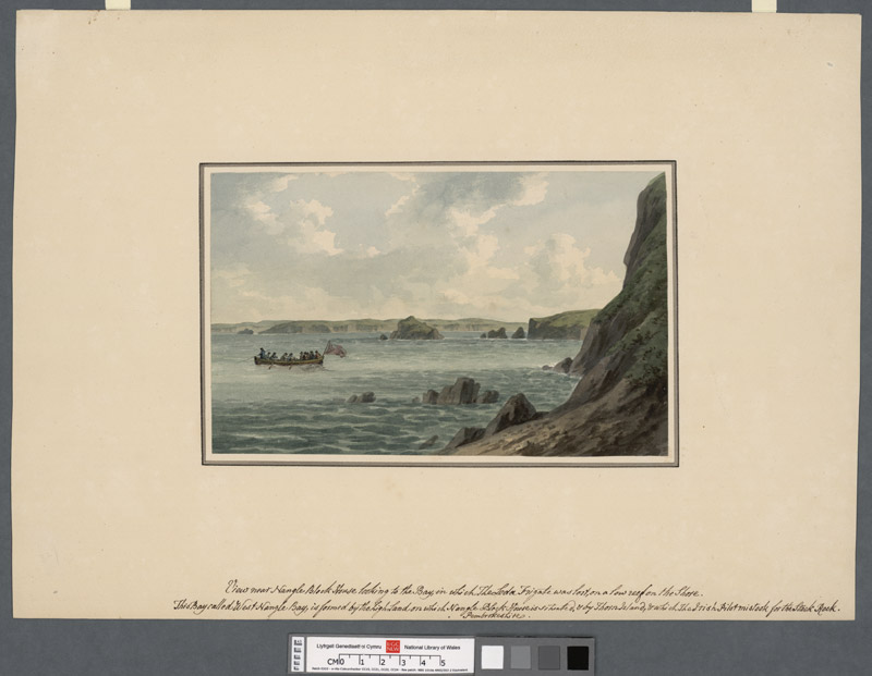 View near Nangle Block House looking to the bay in which the Leda Frigate was lost on a low reef on the shore