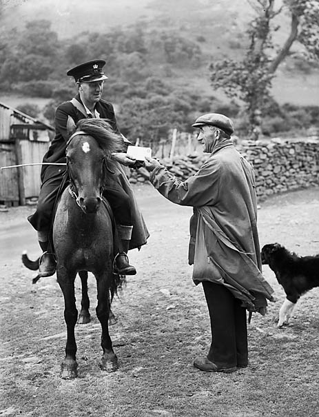[The postman on his round in the mountains between Tregaron and Abergwesyn]
