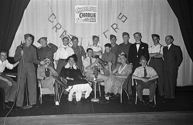 "[Charlie Chester with the ""Craziliers"" army concert party at the Regent Cinema, Newtown]"