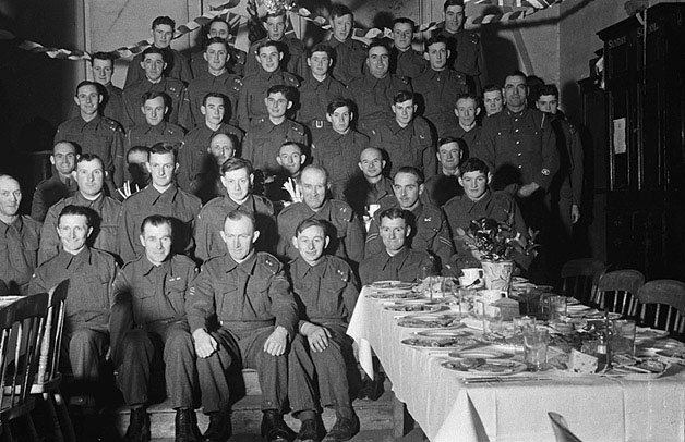 [Members of Meifod and Trefnanny Home Guard at dinner]