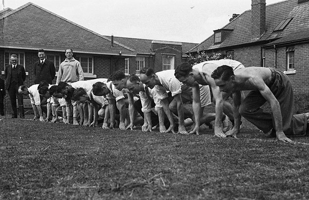 [Youth organisation workers participating in a series of physical training courses at Newtown]