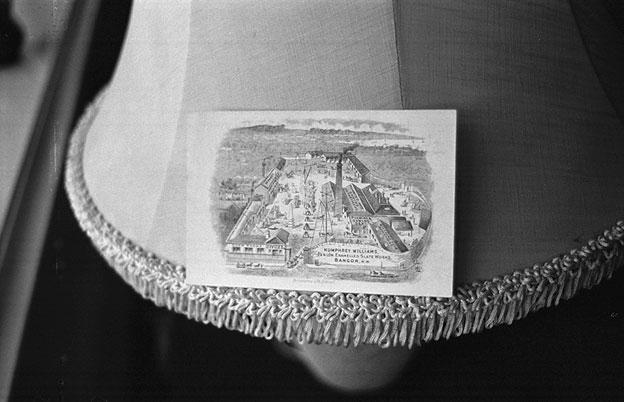 Photograph of an old postcard of the Humphrey Williams slate works,  Bangor