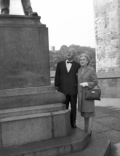 [Col John Esias with his wife at Caernarfon]