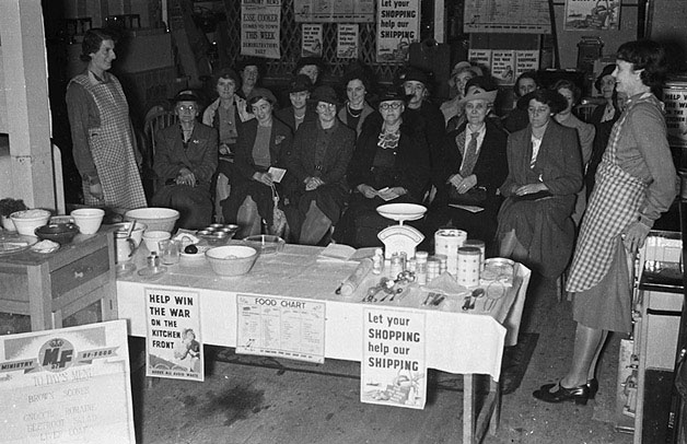 [War-time food and cookery demonstrations at Messrs D. R. Davies, Ironmongery Shop, Newtown]