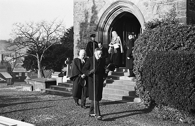 [Judge Stable leaving Welshpool Church]