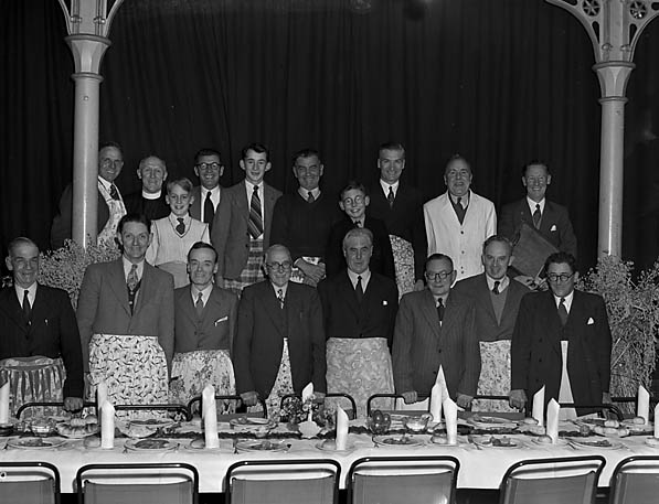 [The men of Oswald Road Presbyterian Church who served supper and provided entertainment]