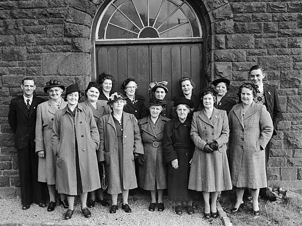 [Gilfach Goch chapel members outside Noddfa, their restored chapel]