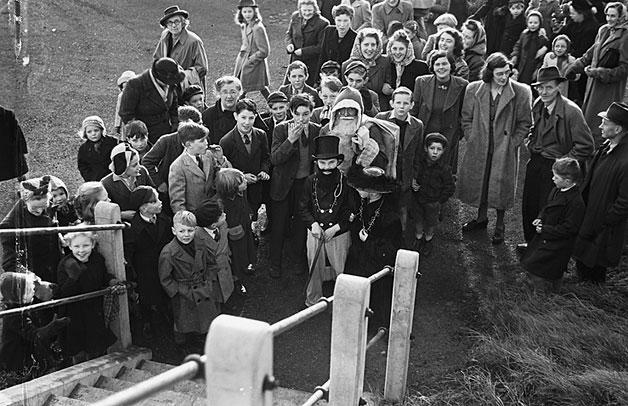 [Father Christmas at Trevor (Llangollen) and Wem children's concert, 1948]