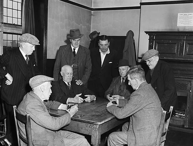 [Chirk veterans playing dominoes]