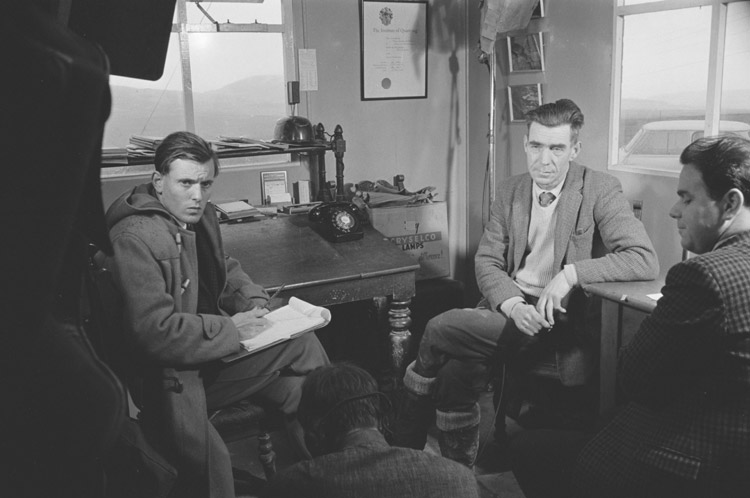 An interview being recorded on film