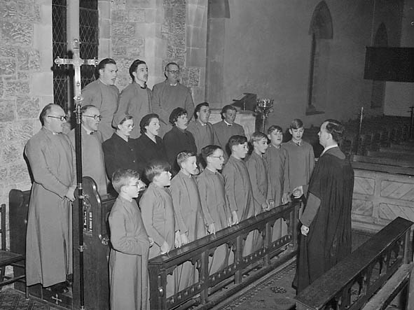[Trefonen Church Choir with their conductor, John Tilley]