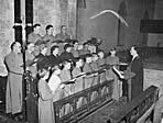 [Trefonen Church Choir with their conductor, John Tilley]