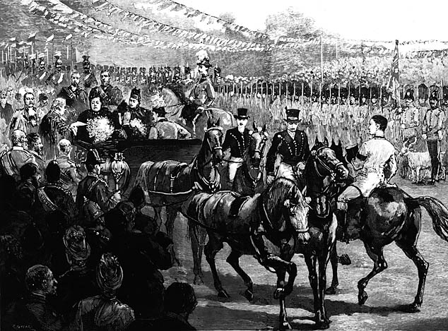 [Picture of an engraving of Queen Victoria's visit to Wrexam, c 1889]