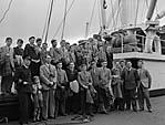 "[Oswestry Modern Boys' School visit their ""adopted"" ship, M V Oswestry Grange, at Liverpool Docks]"