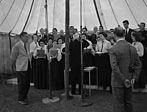 [B.B.C. outside broadcast unit at the Llangollen Eisteddfod, one of their first big ventures]