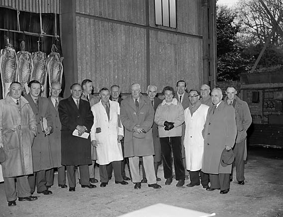 [North Wales Pig Breeders Association members at a pig meat demonstration]
