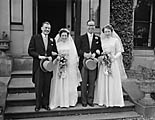 [Double wedding at Llanrhaeadr - Agnes Della Morris to Mr D Noseworthy and Joan Brown to Mr F Telling]