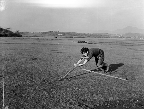 [Cutting turf at Morfa Harlech to sell for use on playing fields and such like]