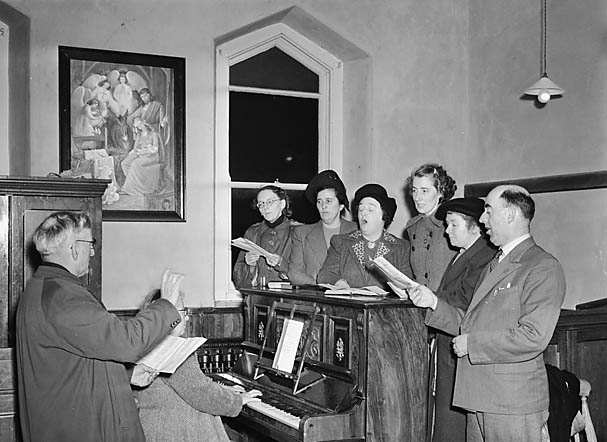 [Gwynfryn Chapel, Ammanford, singing octet during singing practice]
