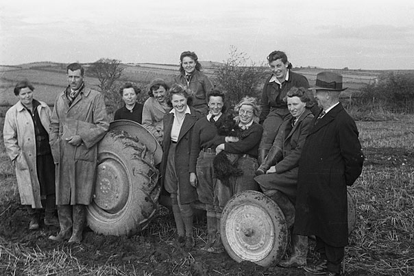 [First proficiency, tractor ploughing test for WLA girls on the Long Mountain, Welshpool]