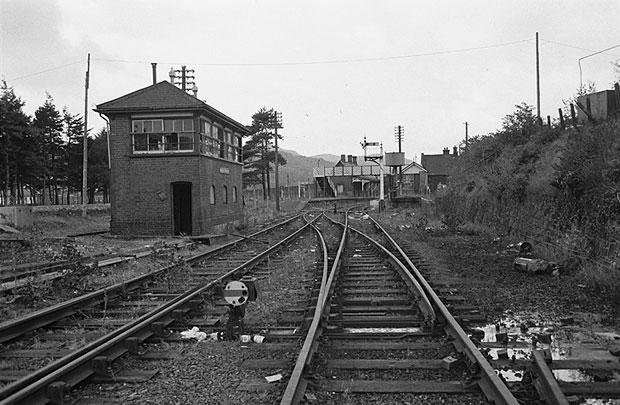Railway tracks with signal box