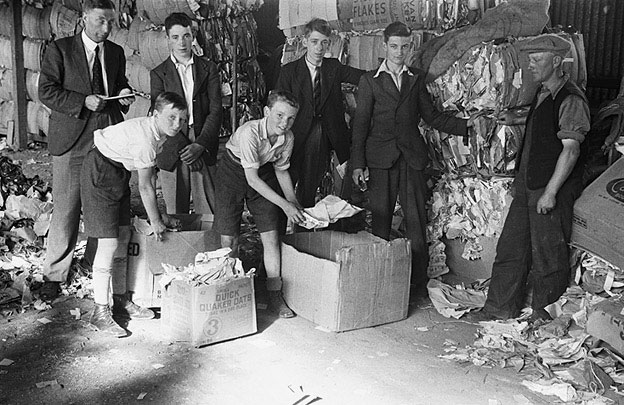 [Welshpool Boys' Club salvage squad at the Salvage Depot]