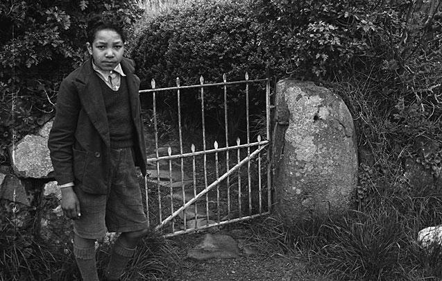 """[Freddie Grant (Yr Etifeddiaeth) by the garden gate of the antiquarian """"Cybi""""]"""