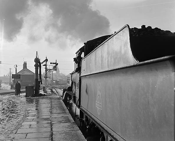 "[New Year picture of steam locomotive taken at Oswestry for the ""Saturday Express""]"