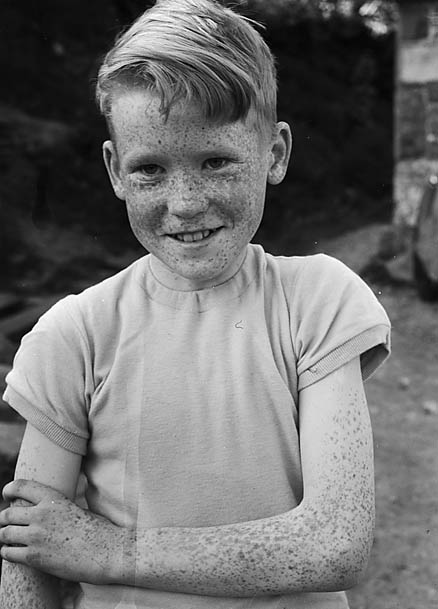 [John James, Llanbrynmair, a competitor in the boys' solo under 15 at the Urdd Eisteddfod]