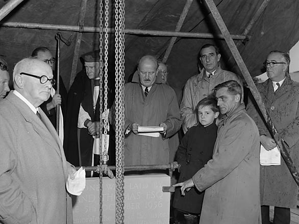 [Laying a foundation stone at the Orthopaedic Hospital, Gobowen]