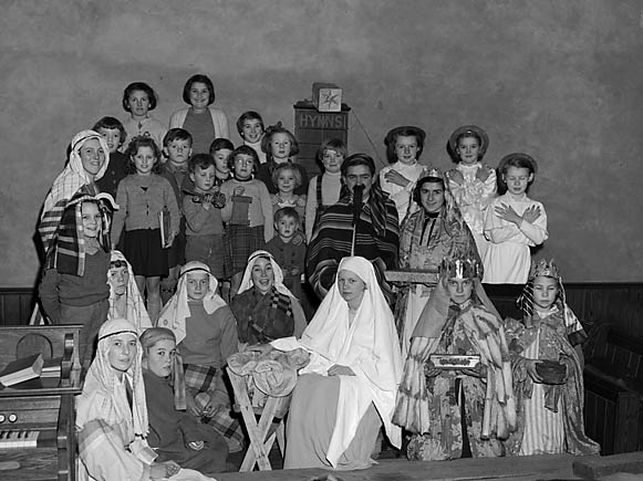[Children of West Felton Methodist Church performing the Nativity Play]