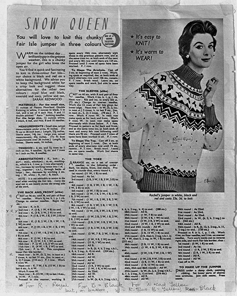 [Knitting pattern for an advert photo]