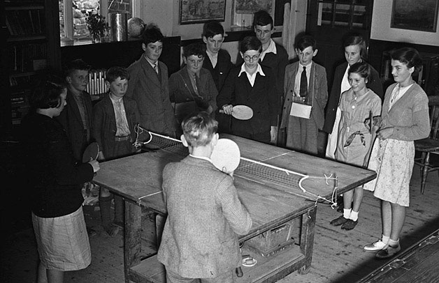 [Llanbrynmair schoolchildren practising table tennis]