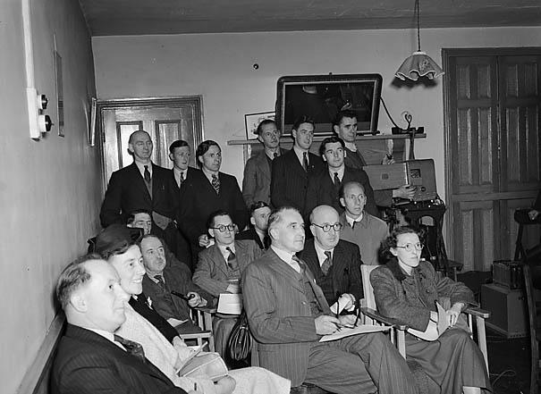 """[Teachers and youth organisers from Carmarthen and Llanelli watching """"Yr Etifeddiaeth""""]"""
