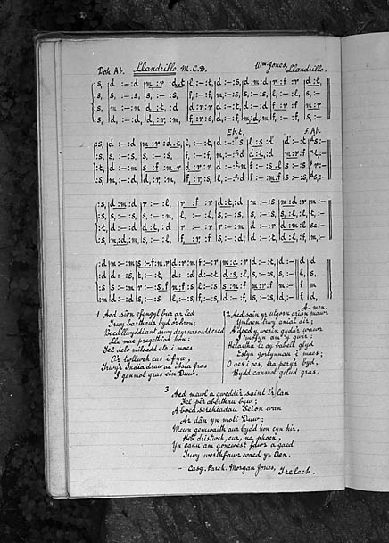 [Image of a manuscript containing the hymn Llandrillo by William Jones from the collection of Rev Morgan Jones, Trelech]