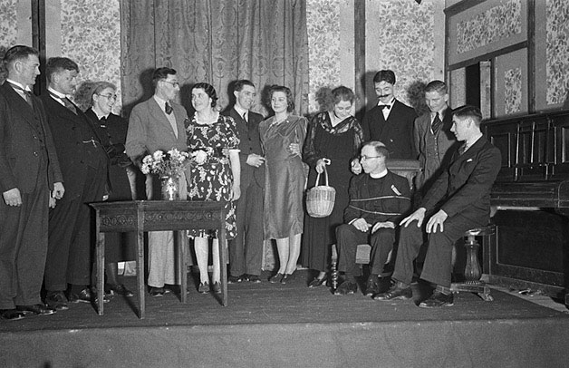 "[Cast of Efail Fach Dramatic Society who performed ""The Private Secretary"" at Revel]"