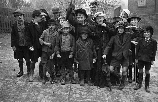 [Boys of Newtown Church School after their rummage sale]