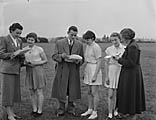 [Competitors and officials at the area Youth Athletics meeting at Longden Road, Shrewsbury]