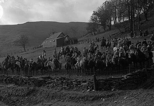 [Farmers on horseback at the opening of the dam at Cwm Elan]