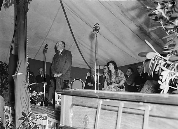 [D J Williams, Fishguard, orating during the Parliament for Wales Campaign Rally in Machynlleth]