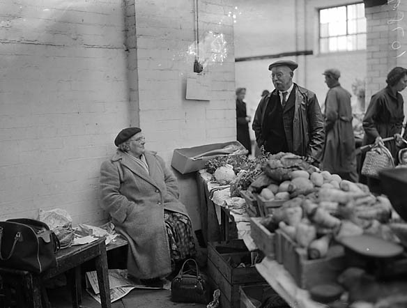 [Mrs Griffiths, Maesbury, has been bringing produce to the Cross Market Hall, Oswestry, for 40 years]