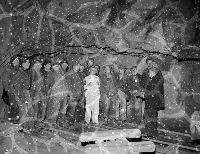 [Quarrymen at Blaenau Ffestiniog carol singing underground]