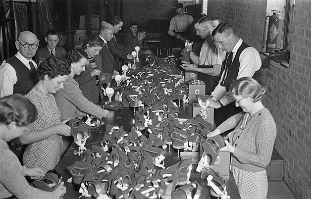 [Volunteers assembling and packing respirators at the Severn Valley warehouse, Newtown]