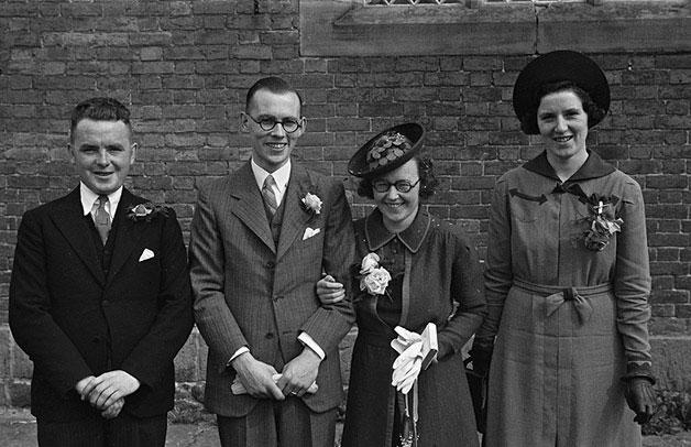 [Wedding of Trixie Pritchard to William Blayney at Llanllwchaiarn church]